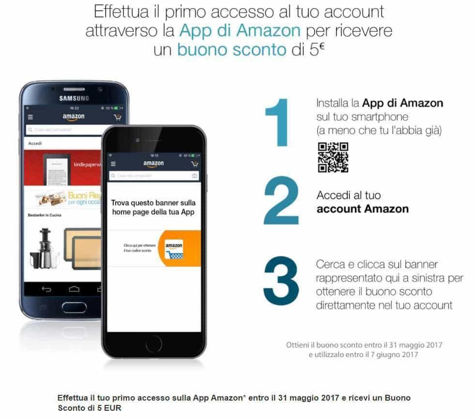 Buono Amazon 5 euro gratis installando l'app
