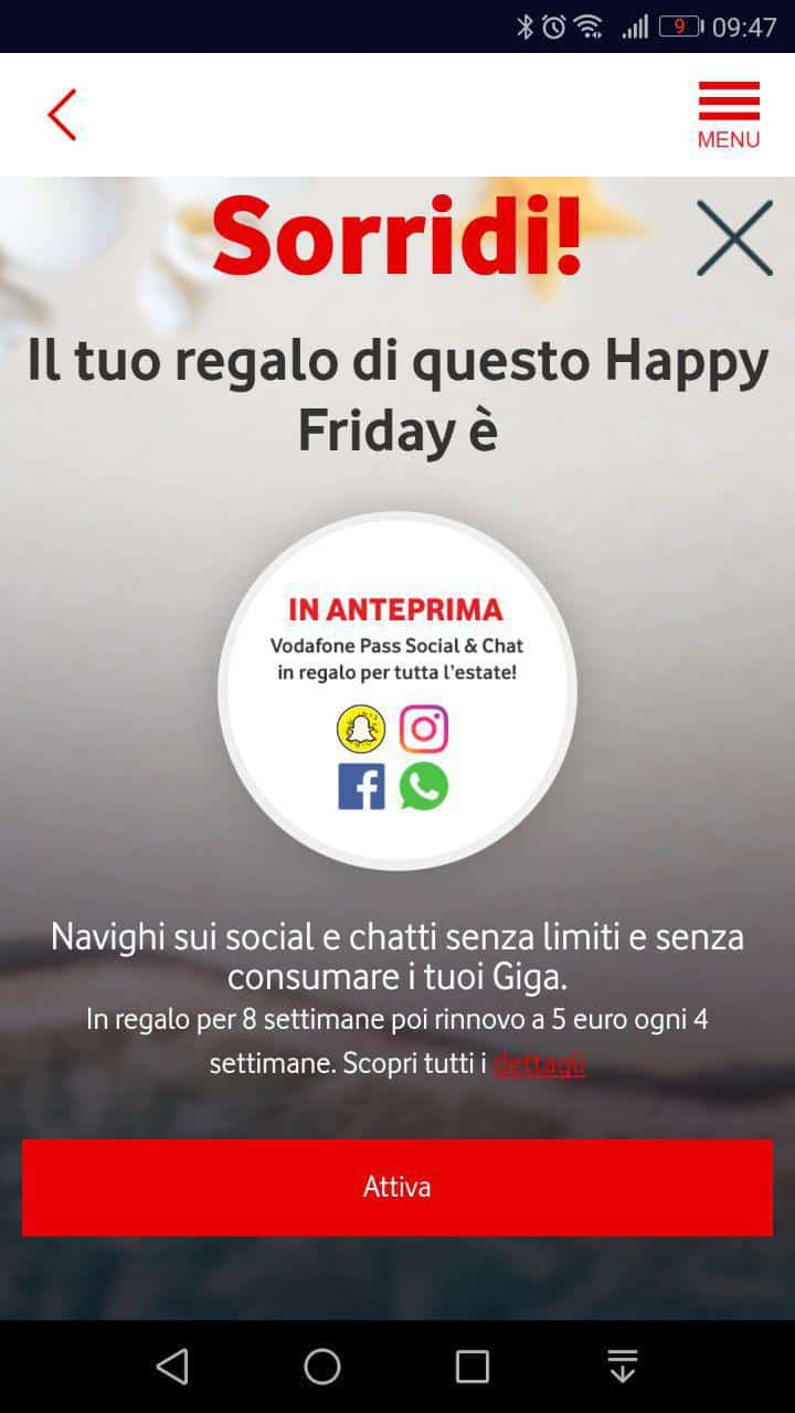 Vodafone Happy Friday fa un regalo fino al prossimo weekend