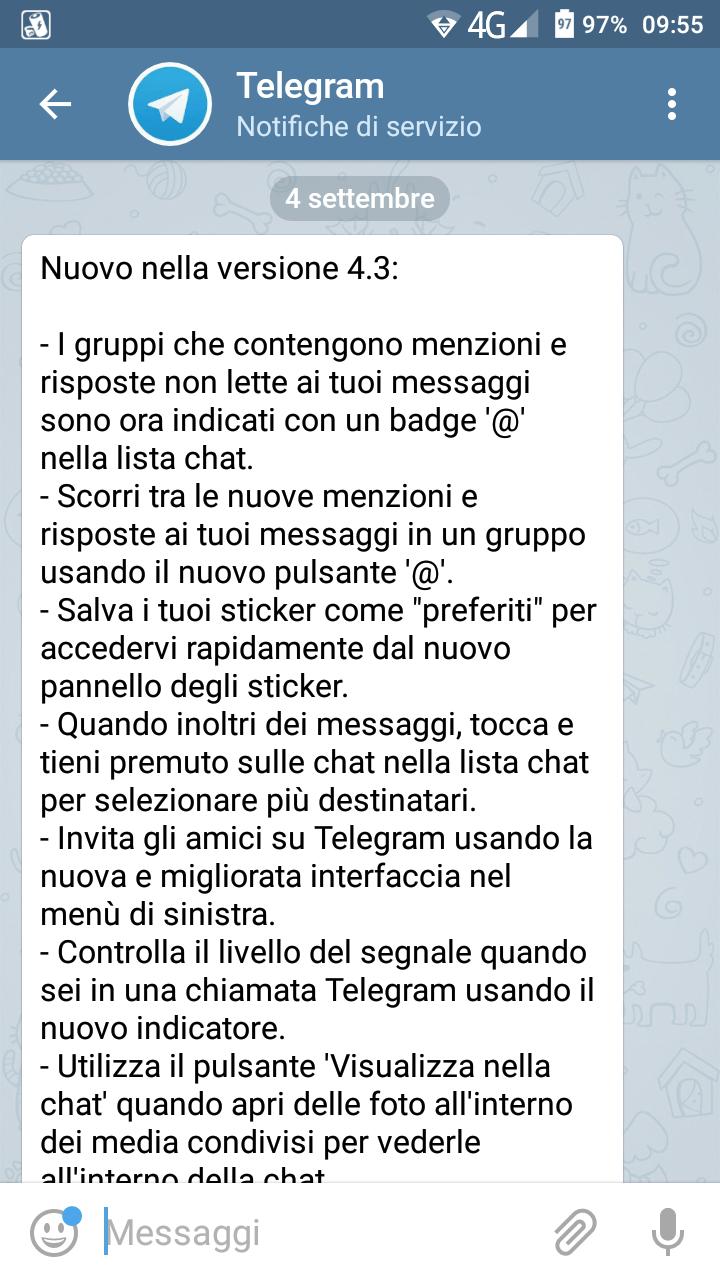 Telegram arriva alla versione 4.3