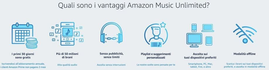 vantaggi amazon music unlimited