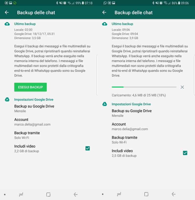 Come trasferire chat di Whatsapp