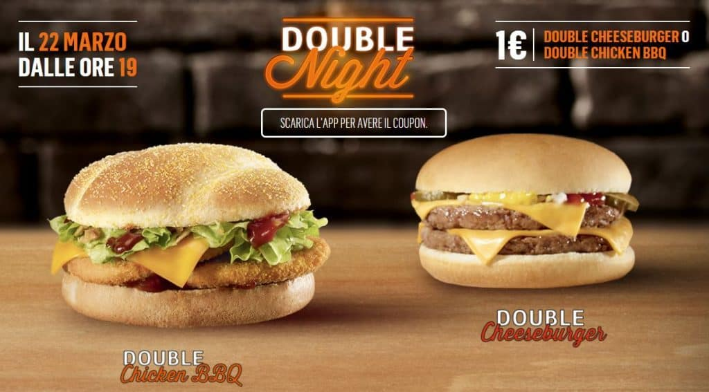 Double Chicken BBQ e Double Cheesburger a 1€