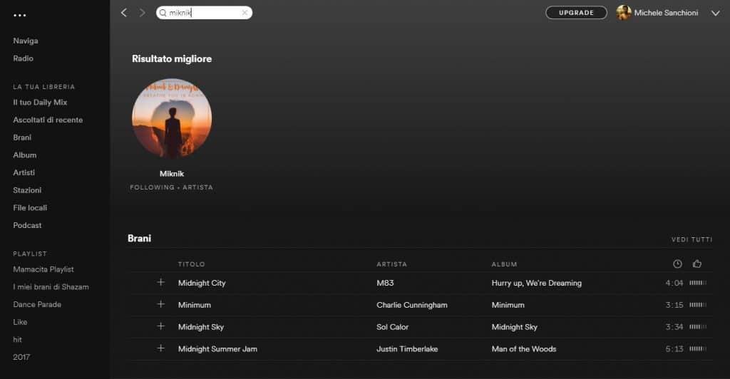 Spotify app per la musica
