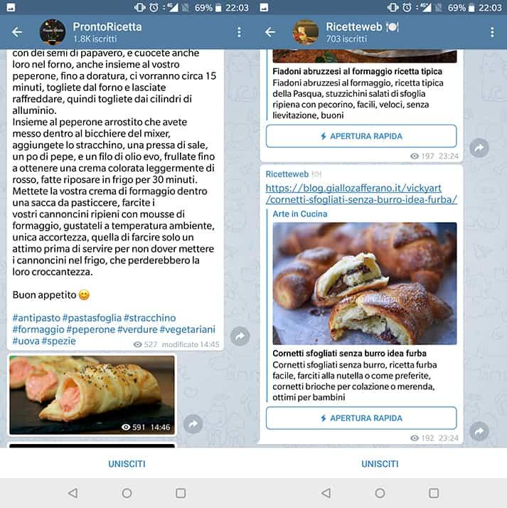 canali telegram cucina