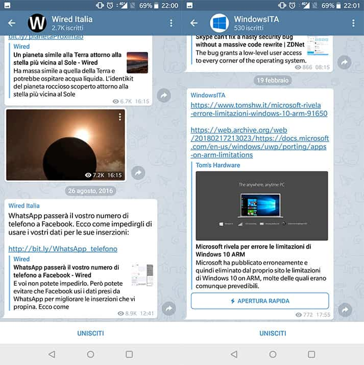 canali telegram tecnologia