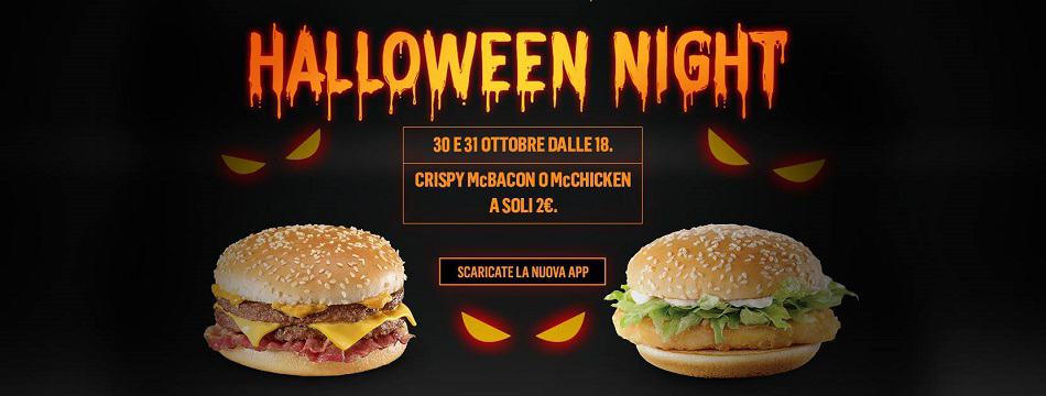 McDonald's Halloween Night: panino + patatine a 4€