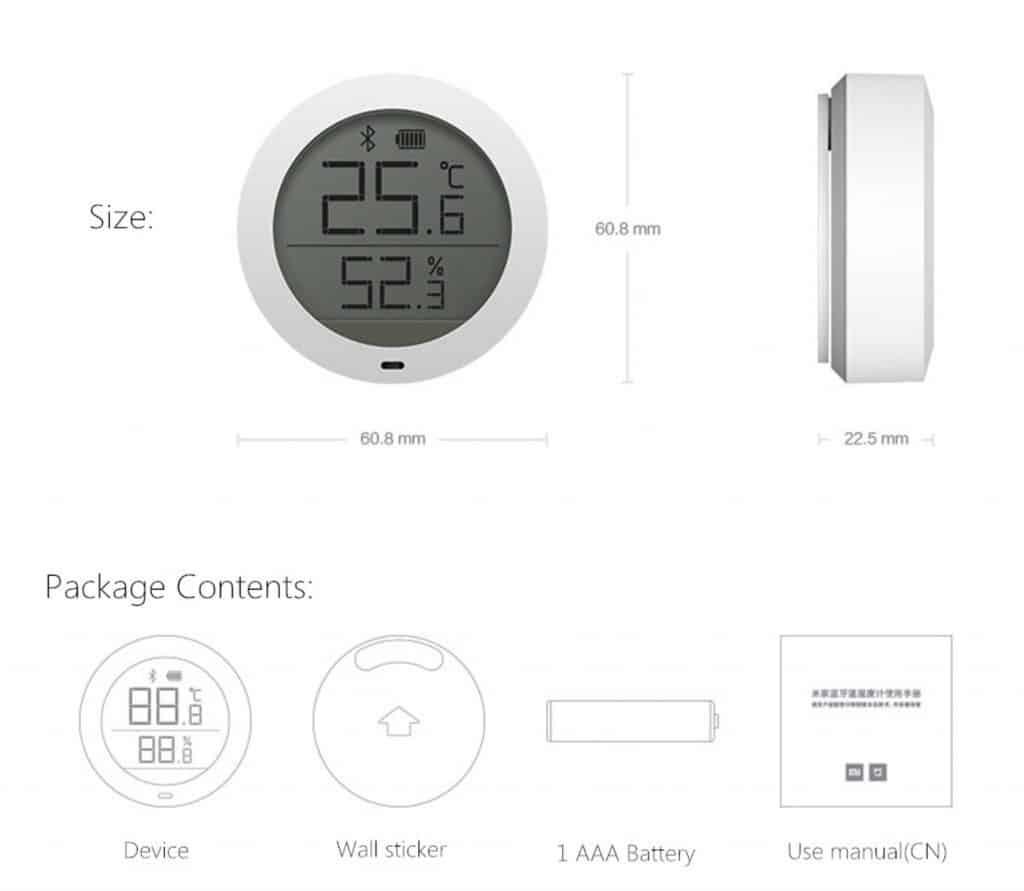 contenuto confezione Sensore per temperatura ed umidità Xiaomi Mijia