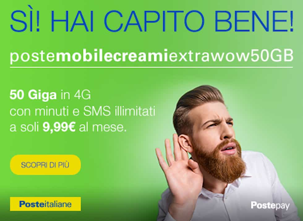 PosteMobile Creami eXtra WoW: 50 GB e minuti illimitati