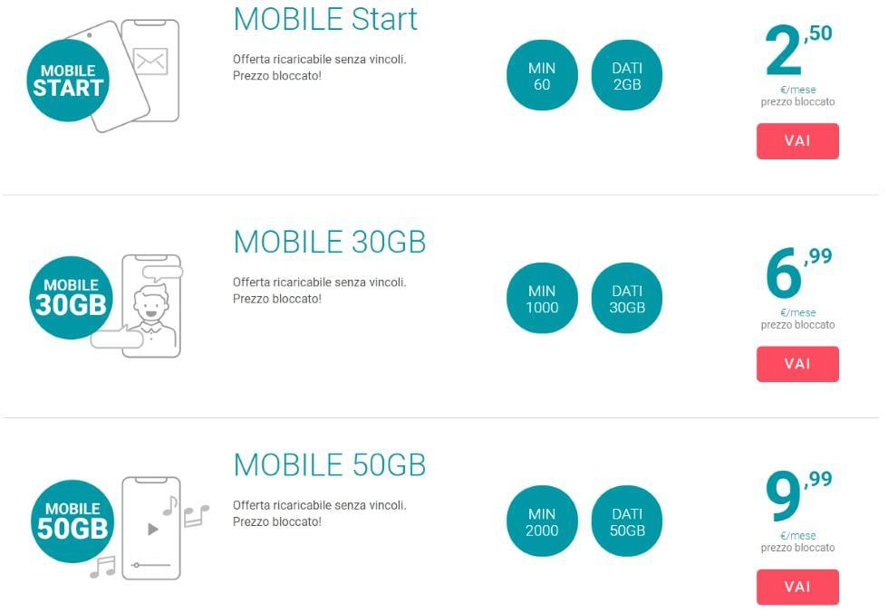 Tiscali Mobile Start parte da 2,50 euro al mese