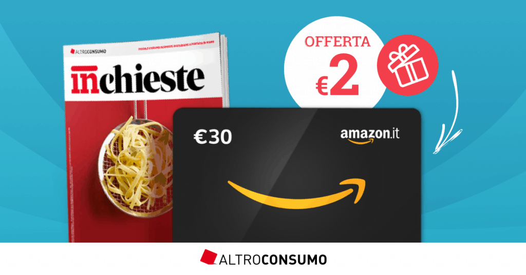 Prova Altroconsumo a soli 2€ e ricevi un Buono Regalo Amazon.it da 30€!