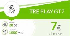 Tre Play GT7 Extra OnLine: 1000 minuti e 30 GB per i nuovi clienti