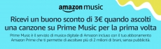 Amazon: buono sconto di 3 euro con Prime Music