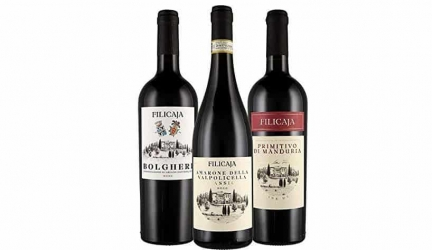 3 Bottiglie: Filicaja – Amarone 2015 – Bolgheri 2016 – Primitivo 2017