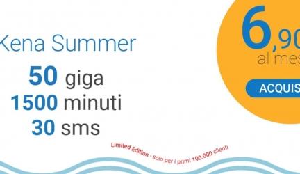 Kena Summer: 1500 minuti, 30 SMS e 50 GB a 6,90€ al mese